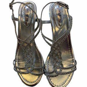 UNLISTED Silver Jeweled Kitten Heel Sandals sz 8
